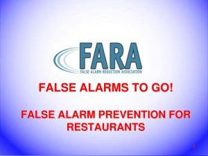 False Alarm Prevention Training for Restaurants.